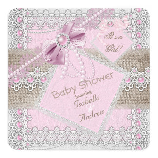 Girl Baby Shower Pink Pearl Bow Lace Burlap 2 Card