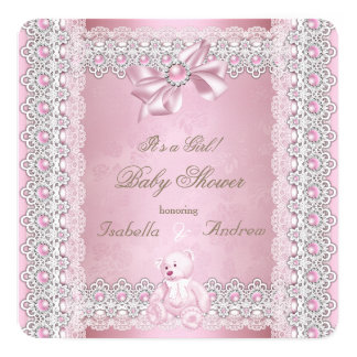 Girl Baby Shower Pink Pearl Bow Lace Damask Card