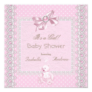Girl Baby Shower Pink Pearl Bow Lace Polka Dots 2 Card