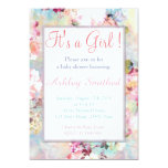 Girl Baby Shower Pink Teal Watercolor Chic Floral 5x7 Paper Invitation Card