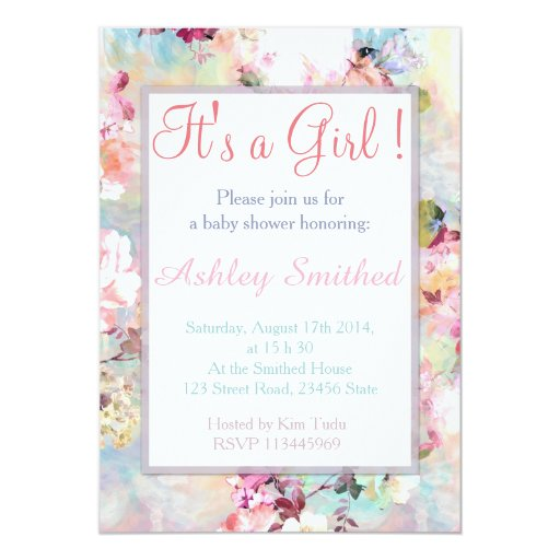 Girl Baby Shower Pink Teal Watercolor Chic Floral Invitations