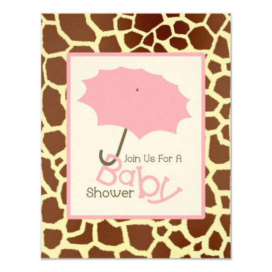 Girl Baby Shower - Pink Umbrella & Giraffe Print Card
