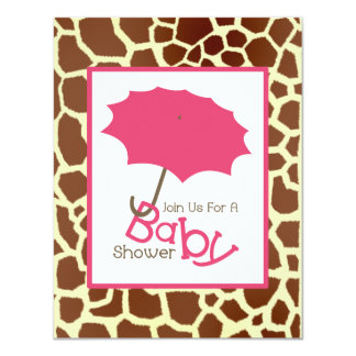 pink giraffe baby shower invitations announcements zazzle