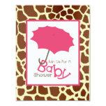 Girl Baby Shower - Pink Umbrella & Giraffe Print Announcements