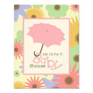 "Girl Baby Shower - Pink Umbrella & Pastel Flowers 4.25"" X 5.5"" Invitation Card"