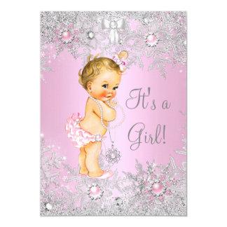 Girl Baby Shower Pink Winter WonderLand Blonde Card
