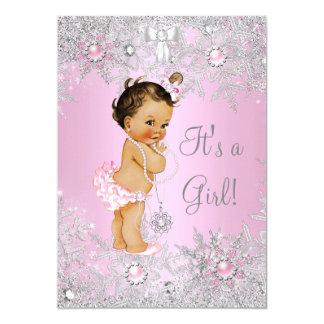 Girl Baby Shower Pink Winter WonderLand Brunette Card
