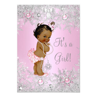 Girl Baby Shower Pink Winter WonderLand Ethnic Card