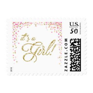 Girl Baby shower Postage Stamps Pink Gold Confetti