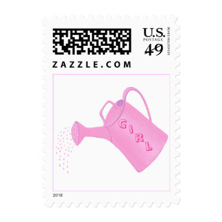 Girl baby shower postage stamps, pink water can