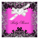 Girl Baby Shower Pretty Hot Pink White Black Announcements