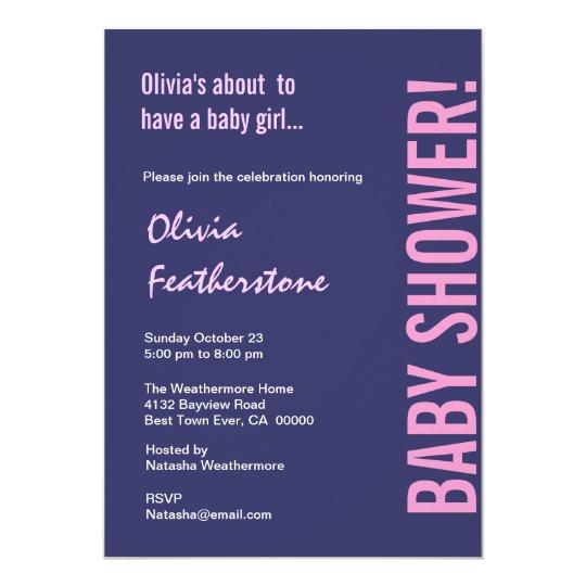 Girl Baby Shower Purple Pink Modern Template Card