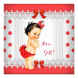 Girl Baby Shower Red White Polka Dots Brunette Card