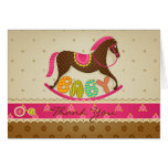 Girl Baby Shower Rocking Horse Thank You Card