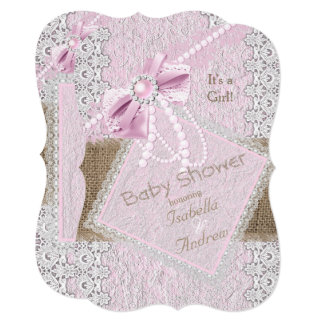 Girl Baby Shower Rustic Pink Bow Pearl Lace 2 Card