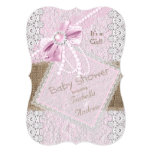 Girl Baby Shower Rustic Pink Bow Pearl Lace 2 5x7 Paper Invitation Card