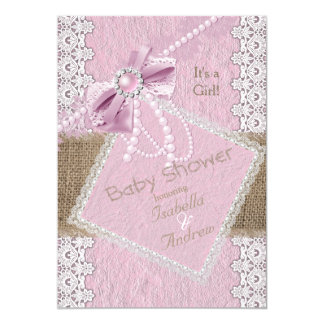 Girl Baby Shower Rustic Pink Bow Pearl Lace Burlap Card