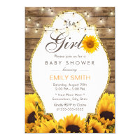 Girl Baby Shower Rustic Sunflowers String Lights Invitation