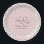 "Girl Baby Shower Script Baby&#39;s Breath Rustic Paper Plate<br><div class=""desc"">A beautiful design especially suited for a spring or summer outdoor garden baby girl shower party decor - especially for rustic country, outdoor garden, farm, barn or backyard events. This trending for 2016 invite style has a wreath of baby&#39;s breath flowers as a border to the plate and a script...</div>"