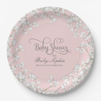 Girl Baby Shower Script Baby's Breath Rustic Paper Plate