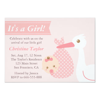 Girl Baby Shower - Stork Delivers Cute Baby Girl Personalized Invite