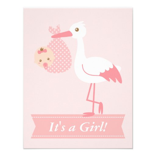 Girl baby shower stork delivers cute baby girl for Baby shower stork decoration