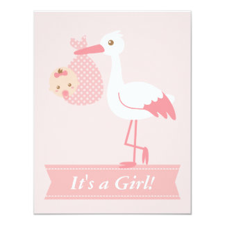 Girl Baby Shower - Stork Delivers Cute Baby Girl Personalized Announcement