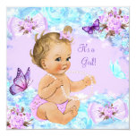 Girl Baby Shower Teal Purple Butterfly Blonde Card
