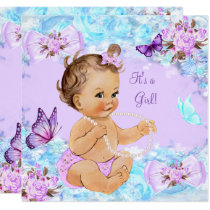 Girl Baby Shower Teal Purple Butterfly Brunette Invitation