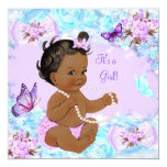 Girl Baby Shower Teal Purple Butterfly Ethnic Card