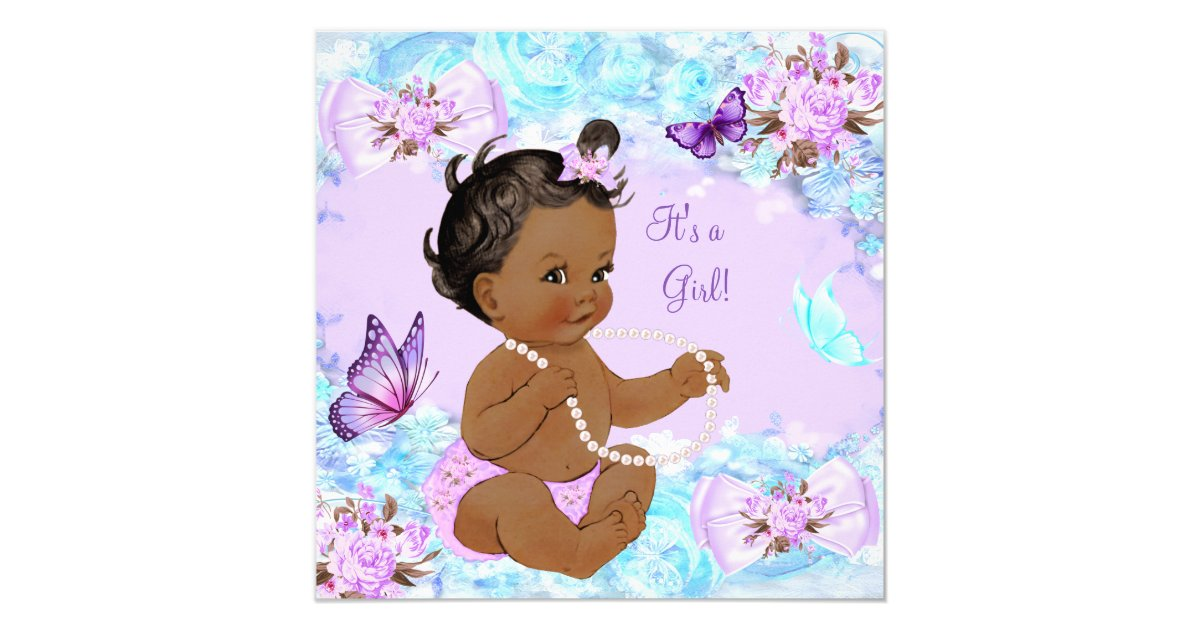 girl baby shower teal purple butterfly ethnic card zazzle