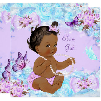 Girl Baby Shower Teal Purple Butterfly Ethnic Invitation