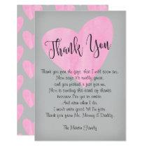Girl Baby Shower Thank You Card Pink Heart Script