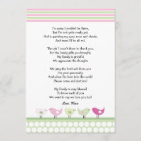 girl baby shower thank you notes pink birds