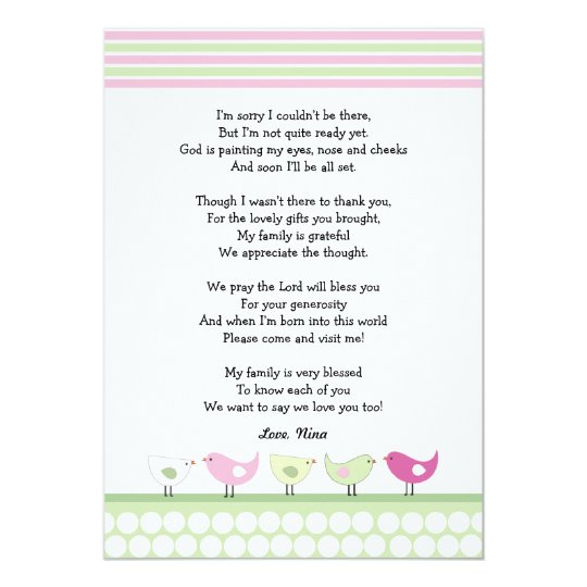 Girl Baby Shower Thank You Notes / Pink Birds Card