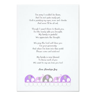 Girl baby shower thank you notes with poem