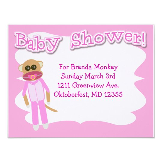 Girl Baby Shower Time Card