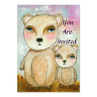 Girl Baby Shower Whimsical Bears Art 5x7 Paper Invitation Card