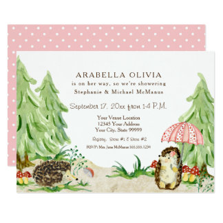 Girl Baby Shower Woodland Forest Animals Hedgehogs Card