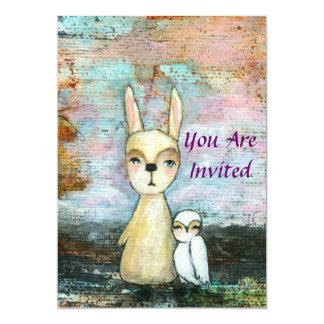 Girl Baby Shower Woodland Rabbit and Owl Art Card