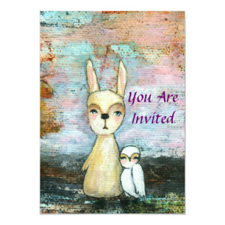 Girl Baby Shower Woodland Rabbit and Owl Art 5x7 Paper Invitation Card