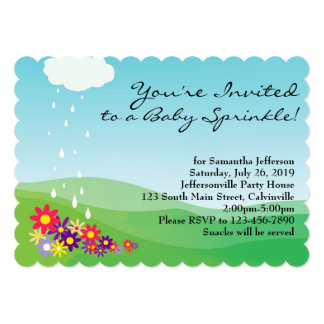 Girl Baby Sprinkle Invitation, Flowers and Rain
