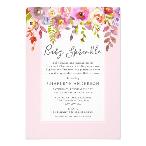 Girl Baby Sprinkle Invite pink floral Invitation