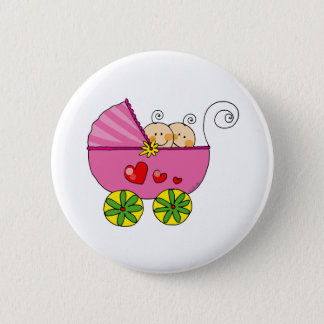 Girl baby twins button