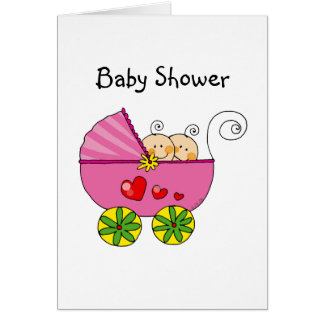 Girl baby twins card