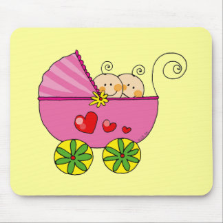 Girl baby twins mouse pad