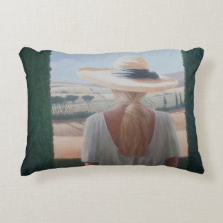 Girl back view Tuscany 2012 Accent Pillow