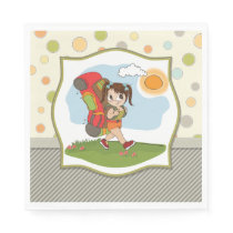 Girl Backpacking Paper Napkins