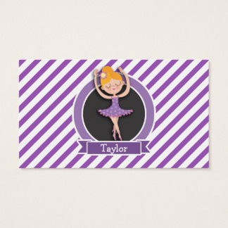 Girl Ballet Dancer; Ballerina; Purple & White Business Card