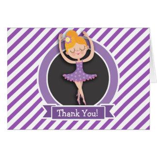 Girl Ballet Dancer; Ballerina; Purple & White Card